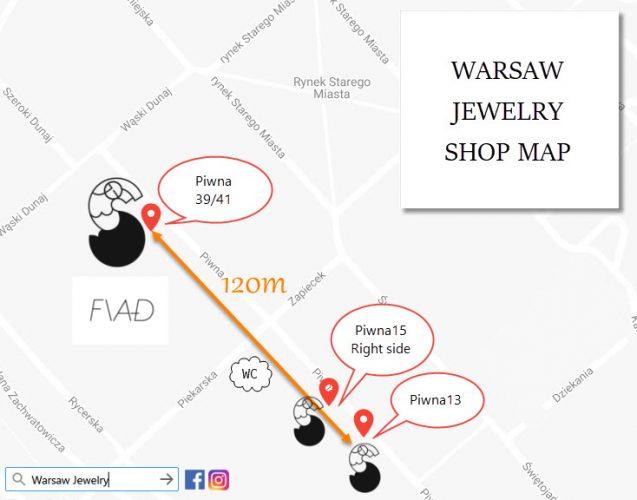 ワルシャワ旧市街琥珀屋さん行き方地図