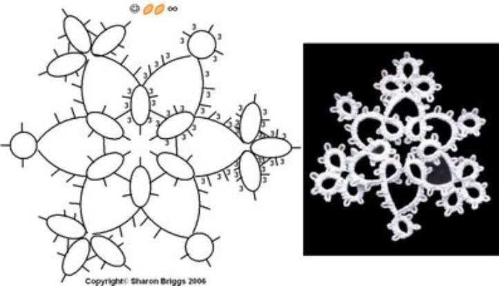 タティングレース無料編み図雪の結晶モチーフ星