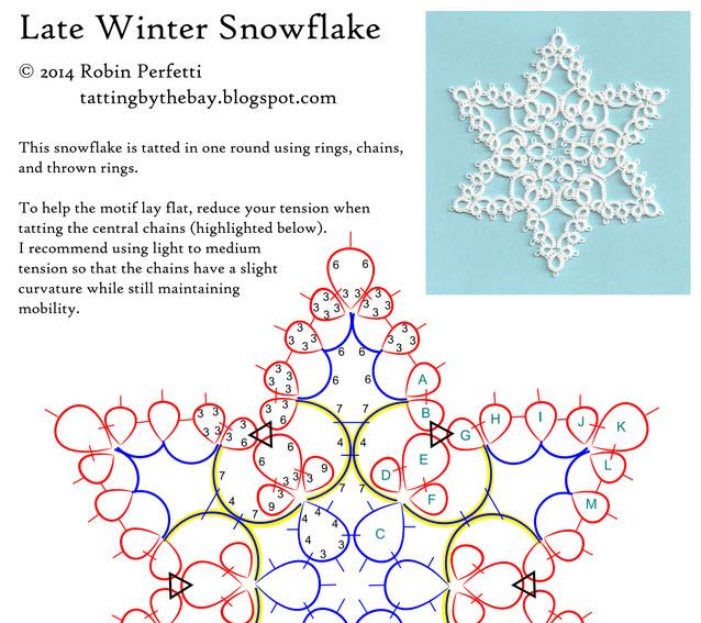 タティングレースモチーフ無料編み図雪の結晶星