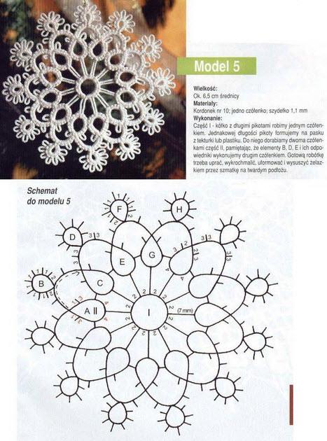 タティングレース雪の結晶星モチーフ編み図