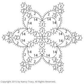 タティングレース無料編み図雪の結晶星モチーフ