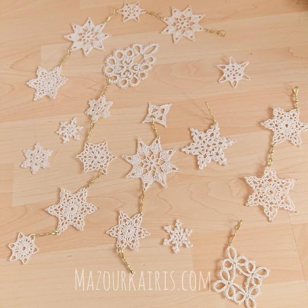 クロシェ雪の結晶編み図crochet-snowflakes