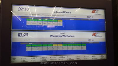 PKPintercityポーランド長距離列車インターシティワルシャワ中央駅電光掲示板車両番号