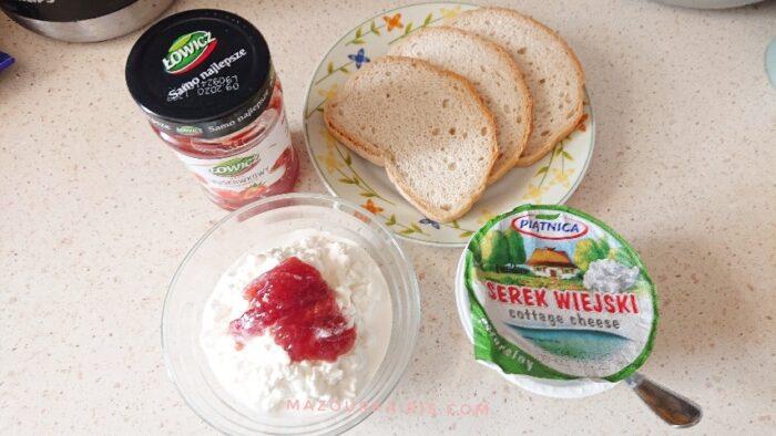 ポーランドの朝ごはんパンジャムカッテージチーズ