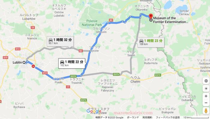 ルブリンからソビボル強制収容所行き方地図