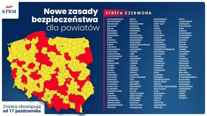ポーランドコロナ関連感染者地図