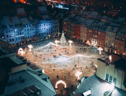 ワルシャワのクリスマスイルミネーション旧市街2020年